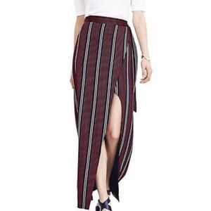 Banana Republic Stripe Wrap Side Slit Maxi Skirt—4
